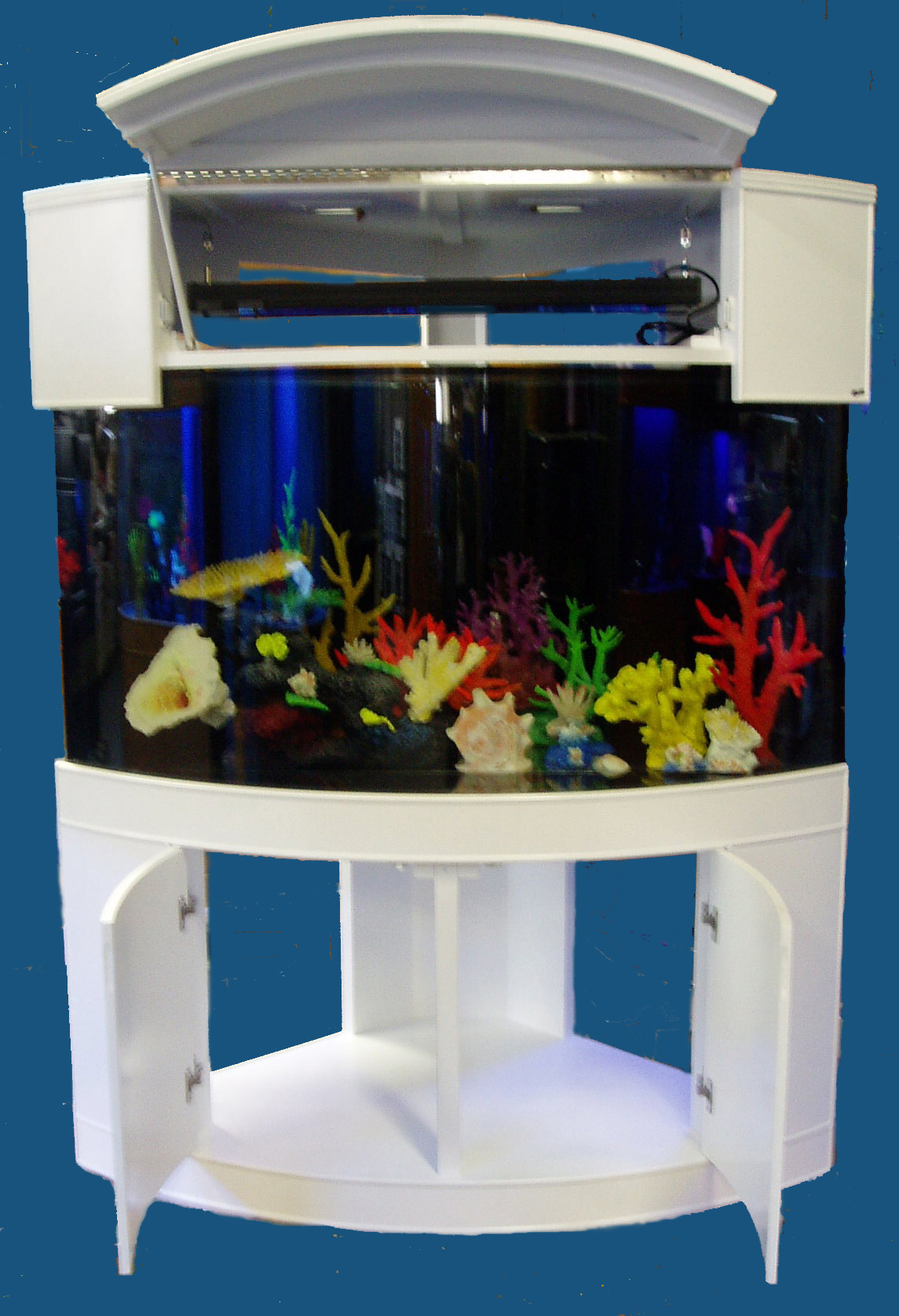 Moon view corner aquariums for Corner fish tank for sale
