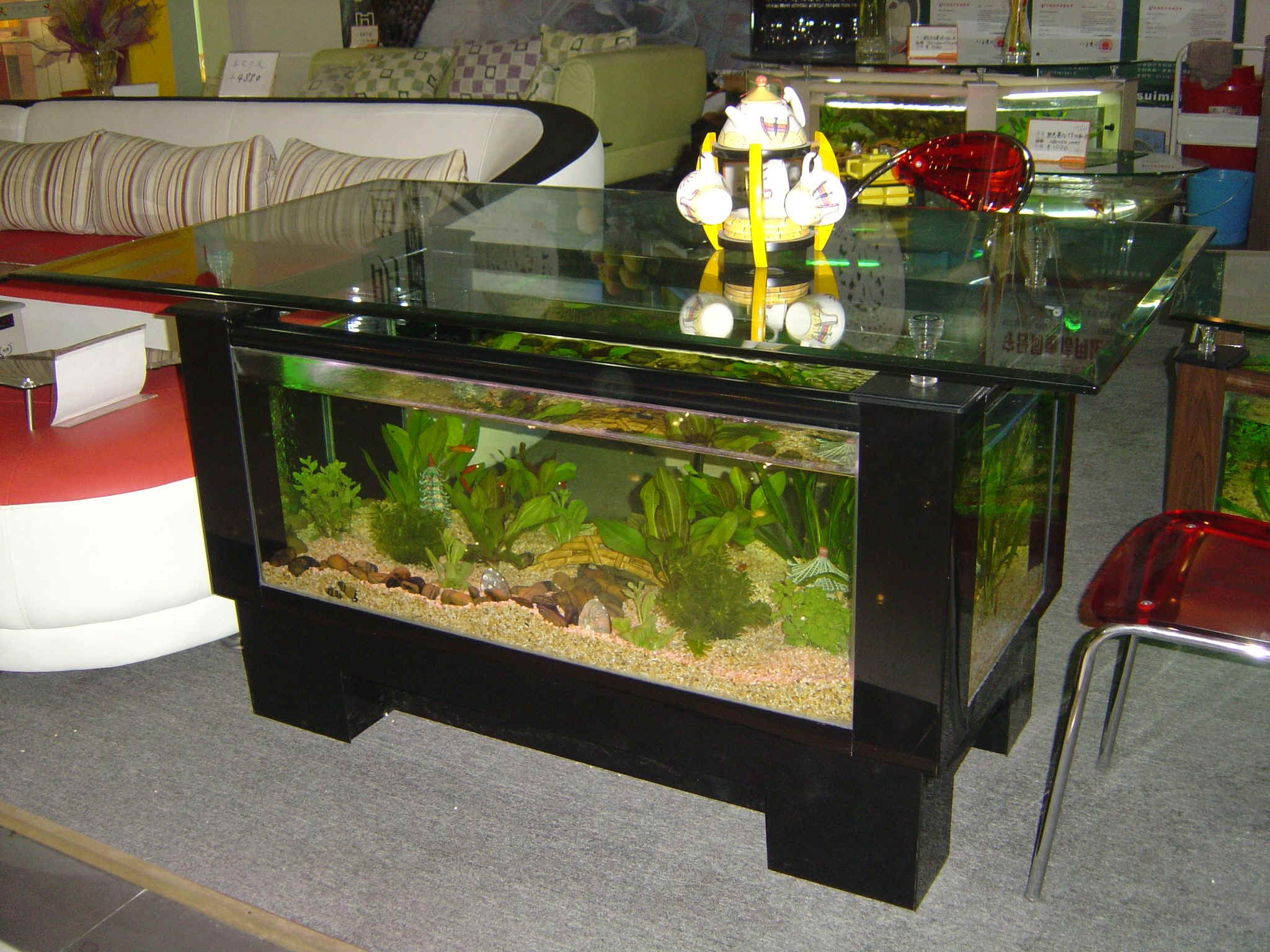 Coffee table aquariums new york for Table salon aquarium